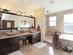 Master bathroom w triple head shower and jetted tub (for 2)