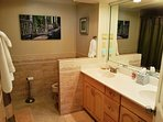 Large master bathroom with a Jacuzzi tub/shower and 2 sinks. All Linens are supplied.