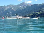 The beautiful old Blumisalp steamer on Lake Thun