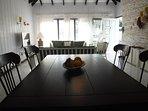 Stylish java stained dining set seats 4