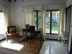 Each bedroom has an inviting writing desk with beautiful views