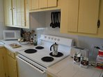 Cook delicious meals in the fully stocked kitchen