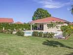 A magnificent two bedroom with television and safes in all rooms. Villa with a well- equipped granite kitchen. Come and spend an unforgettable time on the outside pool chairs next to the large pool watching the view of an azure sky and colorful yards of D