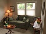 Beautiful living room with full sleeper sofa
