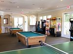 Guest Clubhouse with games room including arcade games, ping pong, and pool!