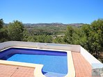 Beautiful location, extensive terrace, superb views, 5 mins to beach & town. 2-3 minutes to shops.