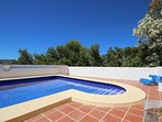 Beautiful pool, easy entry steps, extensive terrace, superb views, approx 5 mins to beach