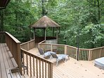 Outside party porch with screened and unscreened areas