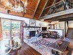 Living room with split stone granite fireplace