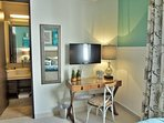 Guests can enjoy their own TV, desk, A/C, fan and private en-suite bath