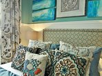 Custom-made bedding and elegant decor exude the rich textures and colors of Mexico