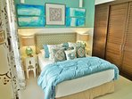The guest room is a dream of soothing colors, and bathed in natural light.
