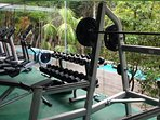 Get your muscles moving in the well laid out gym with glorious jungle views