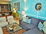 Chat with friends in the quaint living room. There's plenty of space for entertaining