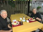 Our guest's are enjoying breakfast underneath the gazebo,