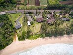 Aerial shots of Kekela Nui and the Pristine Private Beachfront Property