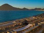 Overlooking Casa Dorada's private beach lounge area