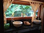 Amazon master bedroom bath with garden view!