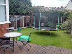 Spacious Garden with pation, trampoline etc.