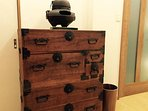 This is old drawer in the upstairs 1st bedroom. There will many Japanese antiques.