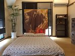Upstairs 1st bedroom which Samurai armor locates. We can prepare one double size futon (Floor bed)