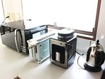 Coffee Machine, Kettle, microwave and toaster