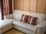 Leather couch in the living room.