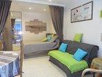 Vue de la pièce à vivre chambre et canapé convertible en lit type BZ 140 X 200 matelas Bulletex.