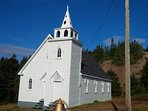 Visit, photo , paint or sketch the old  United Church in the tiny town of pretty Cottrells Cove.