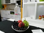Guests are always welcome with fresh fruits and water