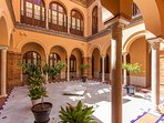 Patio of the house. Typical 'casa palacio' of the Sevillian Regionalist architecture.