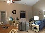 Living Room - 55 inch TV, DVD, Landline Phone, WiFi Router, DVDs, Board Games