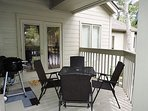 Deck/Balcony Area with table, chairs and electric grill