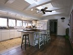 Kitchen has natural light from above