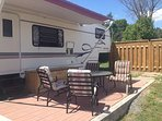 The RV patio provides a private space to enjoy the great outdoors.