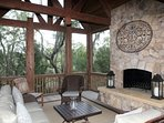 Screened Outdoor Living Room - our favorite spot on cool nights!