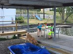 enjoy a drink on one of three sitting areas on the two decks next to boat launch.. dogs welcome!