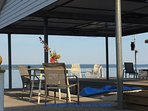 It will be hard to choose where to sit with four places to sit on two docks -- sun and shade for all