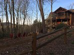 Cabin rests on 1.8 acres, sit at the fire pit or play horseshoes
