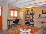 Large den opens with luxury memory foam sleeper sofa sleeps 2 additional with door to private courtyard and hot tub