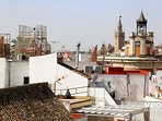 Close-up view of La Giralda - Cathedral of Seville - from the upper terrace.