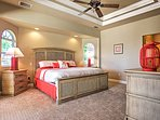 The Master Suite boasts a king-sized bed for the ultimate comfort.