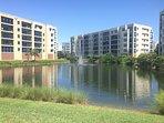 Ponds surrounding building