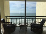 Ocean front balcony with comfy chairs!