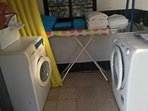 Tower Utility Room Washer/Dryer Washing Machine, Ironing Boards and Iron.