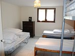 Bedroom 2 with Double Bed, twin beds and a bunk bed for a child