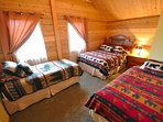 3rd Fl. Bedroom sleeps 4 with view of the Sled hill & mountains to the East + half bath off bedroom