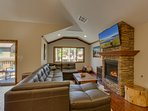Tahoe Woods Paradise - Living room with fireplace and TV