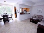 Spacious Living Area w/Flat Screen TV, Tile Floor and Canal View