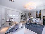 Living room in soft tones